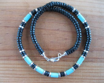 Turquoise Necklace, Black Turquoise Heishi Necklace, Native American Necklace, Tribal Necklace, Mens Necklace, Mens Gemstone Necklace