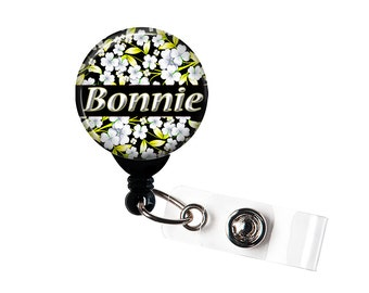 Personalized White Flowers on black, Retractable ID Badge Reel (D_89)