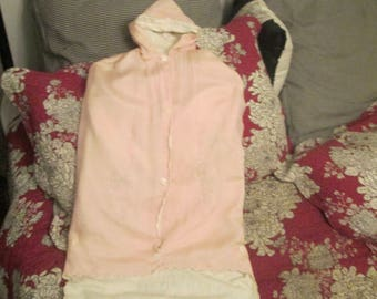 Vintage 1930s Infant Girl Bunting  / Infant Pink Satin Embroidered Sleeping Bag With Hood