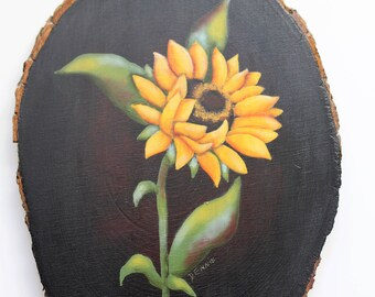 Sunflower Wood Slab Wall Hanging