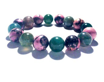 Rhodonite and Moss Agate Handmade Bracelet by nlanlaVictory. Life and Love.