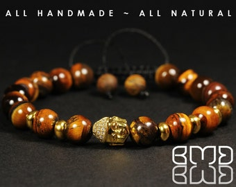 High Quality Gold Plated Micro Pave Cubic Zirconia Buddha Head & Natural Goldenrod Tiger Eye Beads Shamballa, Macrame Adjustable Bracelet