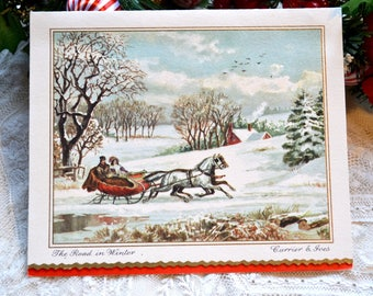 Vintage Christmas Card - The Road in Winter - Used Currier and Ives Horse Sleigh