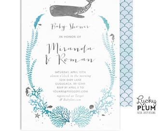 Under the Sea Baby Shower Invitation /  Coed Couples Baby Shower Invitation / Ocean Baby Shower Invitation / Nautical Twins