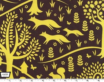 Sale, Woodland Quilt Fabric, Michael Miller Foxtrot CX5965 CTRN-D Norwegian Wood, Baby Quilt Fabric, Woodland Animal Cotton