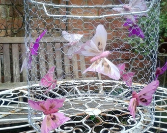 Pink Butterfly Chandelier. Shabby Chic Chandi.