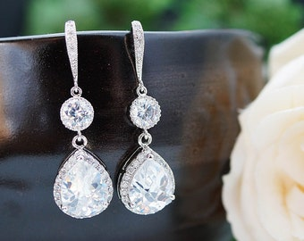Wedding Jewelry Bridal Jewelry Bridal Earrings cubic zirconia connectors and clear white (LUX) cubic zirconia Crystal tear drops
