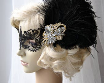 Vintage Inspired Headband, The Great Gatsby Headband, 1920s headpiece, Flapper Feather Headband, 1920's, Gold, Black ,rhinestone Lace Mask