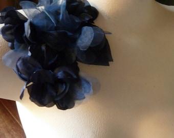 Navy Blue Flowers Silk Organza Flowersfor Bridal, Headbands, Hats, Sashes, Boutonnieres, Corsages. MF 39