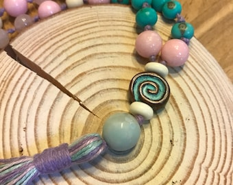 New Life 54 acai seed Half Mala with pink jade and rose quartz