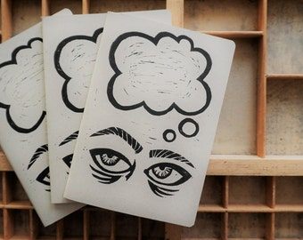 Thinking - Hand Printed A5 Notebook