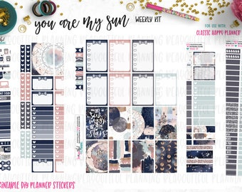 You are my Sun | Weekly Printable Kit | Planner Stickers | Cut Line Files | for use with Happy Planner | Printable Planner Stickers