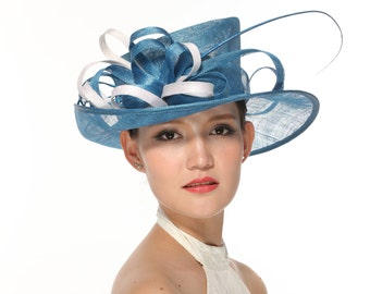 Stunning Sinamay Hat with Contrast Trim and Biot Feathers,Blue with White
