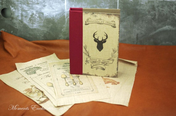hunting recipes book note book organizer recipies Menu linen cooking blank pages or not