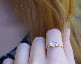 Raw Stone Ring, Crystal, Herkimer Diamond, Quartz Ring, Stacking Ring, Boho Ring