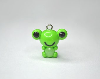 Green Animal Frog Charm - Kawaii Polymer Clay