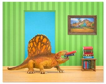 Dinosaur decor wall art: Omnivorous Reader