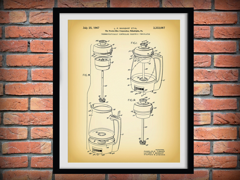 1967 Proctor Silex Coffee Pot Patent Print - Retro Kitchen Decor ...