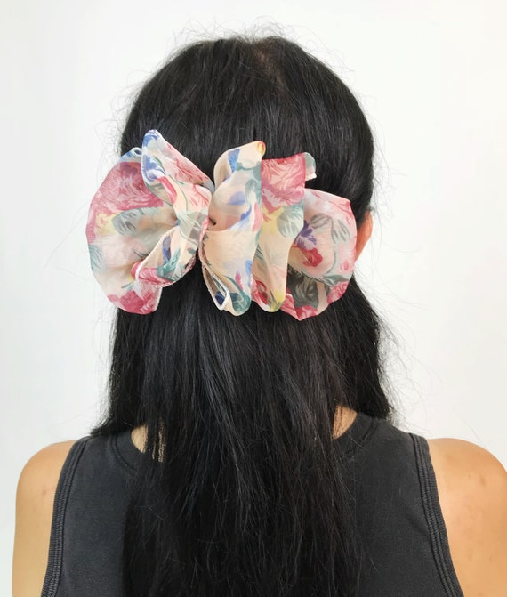 90's Floral Bow Clip French Clip  - Girly Flower Print French Clip Large Bow Hair Barrette - Nineties Hipster Grunge Hair Accessory Bow Clip