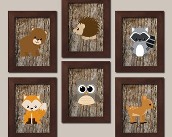 Woodland Nursery Decor, Woodland Wall Art, Woodland Nursery Prints Or Canvas, Woodland Animals Woodland Decor Boy Nursery Prints Set of 6