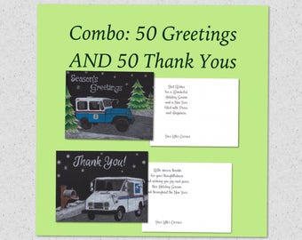 Combo: 50 Letter Carrier Greetings and 50 Postal Thank You postcards, postal post cards
