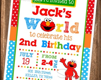 Elmo Invitations, PRINTABLE Elmo Invitations, Elmo's World, Digital Elmo Birthday Invitation, Digital Elmo Invites