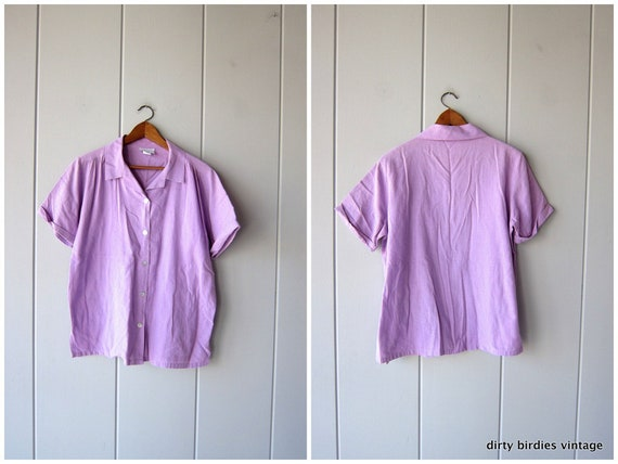 Lilac Purple Shirt | Button Up 80s Tee | Basic Thin Cotton Shirt | Slouchy Oversized Simple Top Shell Buttons Vintage Womens Medium Large