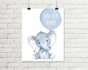 Baby Elephant Nursery Print You Are Loved Balloon Printable Wall Art, Safari Jungle Boys Watercolor Decor 8x10 A4 Grey Blue Digital Download