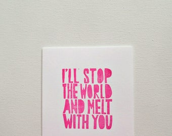 Cute I love you card for him, Anniversary card for husband, I'll stop the world and melt with you, Romantic card, Love cards for boyfriend
