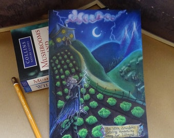 A5 Notebook,The Witch & Her Cabbages, Jotter, sketchbook, Spell Book, Recycled Notebook, Magical, Witch, Gothic, Witch, Fairytale, Moonlight