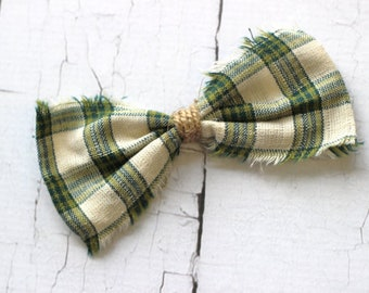 ADD ON Green Plaid Bow Tie