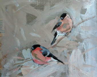 FINE ART PRINT Signed Limited Edition A2 size - from original oil painting 'Bullfinch Pair' By Laura Andrew
