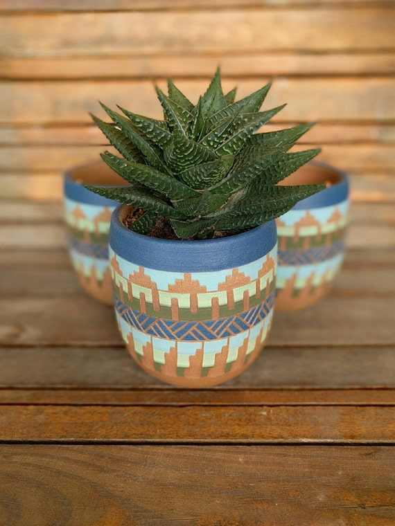 Ceramic Planter Pottery Colorful Carved Sgraffito Vase Aztec