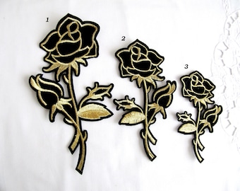 Iron On Canaso  Rose Patch,3PCS.Gold Black ROSE Applique, Iron on Flower Applique,Lurex Flower Patch,Rose Embellishment,Floral iron on Patch