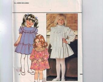 Kids Sewing Pattern Butterick 4676 Girls Dress Frilly Yoke Puff Sleeves Size 2 3 4  5 6 Breast 21 22 23 24 26 1980s 80s UNCUT