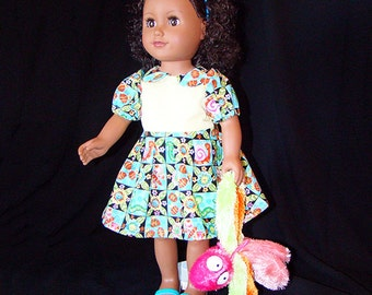 "Butterflies & Bugs Dress for American Girl Doll! n Other 18"" Style Dolls with a Doll Pet too! Blue n Yellow Playground or Dress Up Clothes."