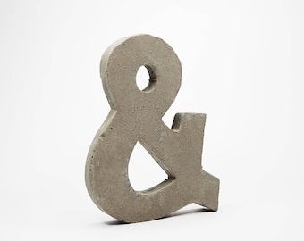 """NEW! Large Concrete Ampersand / """"and"""" Symbol / &. Natural or Half-Painted 10cm"""