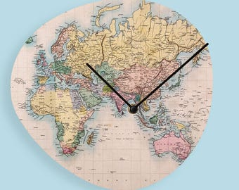 World map clock etsy vintage world map wood clock wooden wall clock world map clock vintage wall clock unique wall gumiabroncs Images