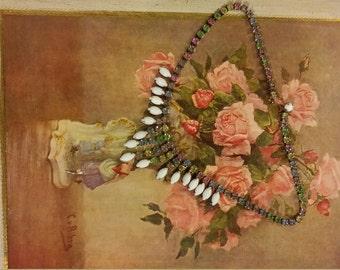 Milk glass rhinestone necklace/choker- bridal/boho-summer-formal-pageant  1940s free shipping!