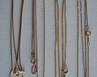 14K gold-filled chains: ball,  snake,  twist oval, box, Length 16in, 18in
