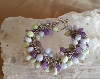 Amethyst, Blue Lace Agate & Howlite Sterling Silver Toggle Bracelet