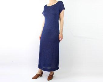 VINTAGE Dress 1970s Knit Dress Long Blue Medium