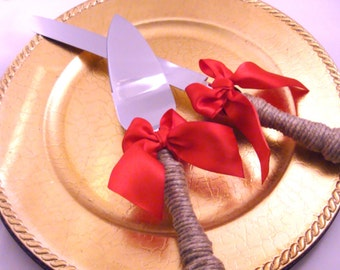 Wedding Cake Server and Knife Set -Engraving Optional- WEDDING Table Settings - Select Colors To Match Your Theme