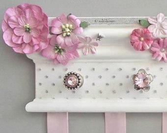 "Hair Bow Hanger 10"", White Pink Silver Nursery Decor, Baby Niece Shower Gift, Flower Bow Holder Organizer, Bedroom Decor"