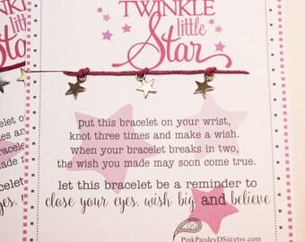 12 Twinkle Twinkle Little Star Charm Wish Bracelet - Make A Wish - Birthday ... Friendship Bracelet . . . Birthday Party Favors