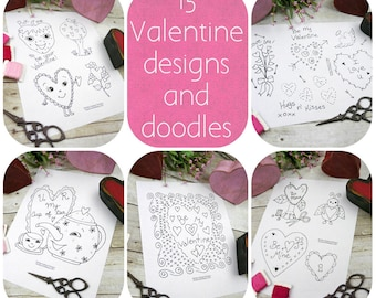 Valentine Doodles & Drawings 2 designs PDF embroidery - 5 sheets primitive stitchery