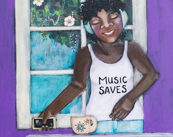 This is Tia. An African American woman listening to music. An original Painting.