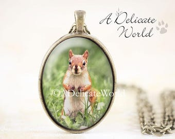 Red Squirrel Necklace Pendant, Woodland Animal Jewelry with Original Photography, Unique Gift for Nature Lovers