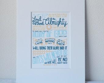 Revelation 21:22-25 Print Bible Verse Art 5x7 Digital Wall Art Gift