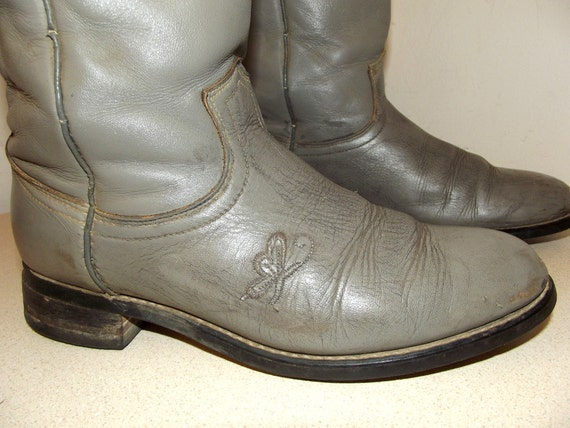 7 cowgirl Boots Leather Cowboy Butterfly M with size in a Vintage Grey va4wxqF